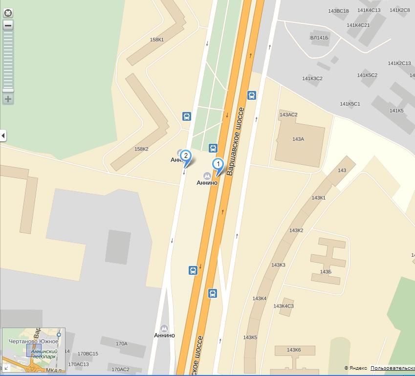 Автобусы в лагерь от правятся от метро Аннино 1 мая в 9:00 Сбор с 8:30.  На схеме точка 2 - место встречи...